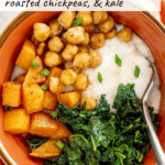 vegetarian grits with kale, chickpeas, and sweet potato in a bowl