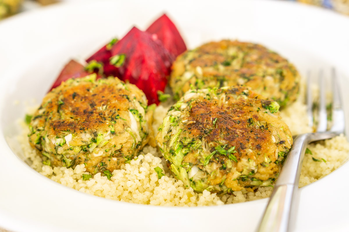 broccoli meatballs on a bed of couscous with beets