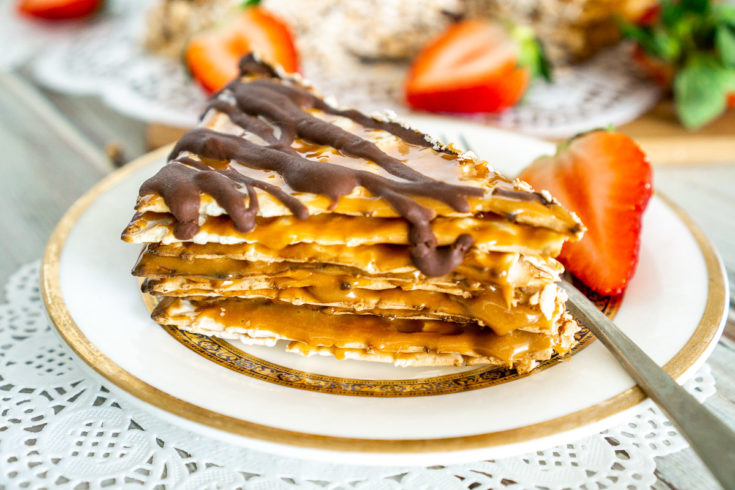 matzo cake with caramel and chocolate on a plate