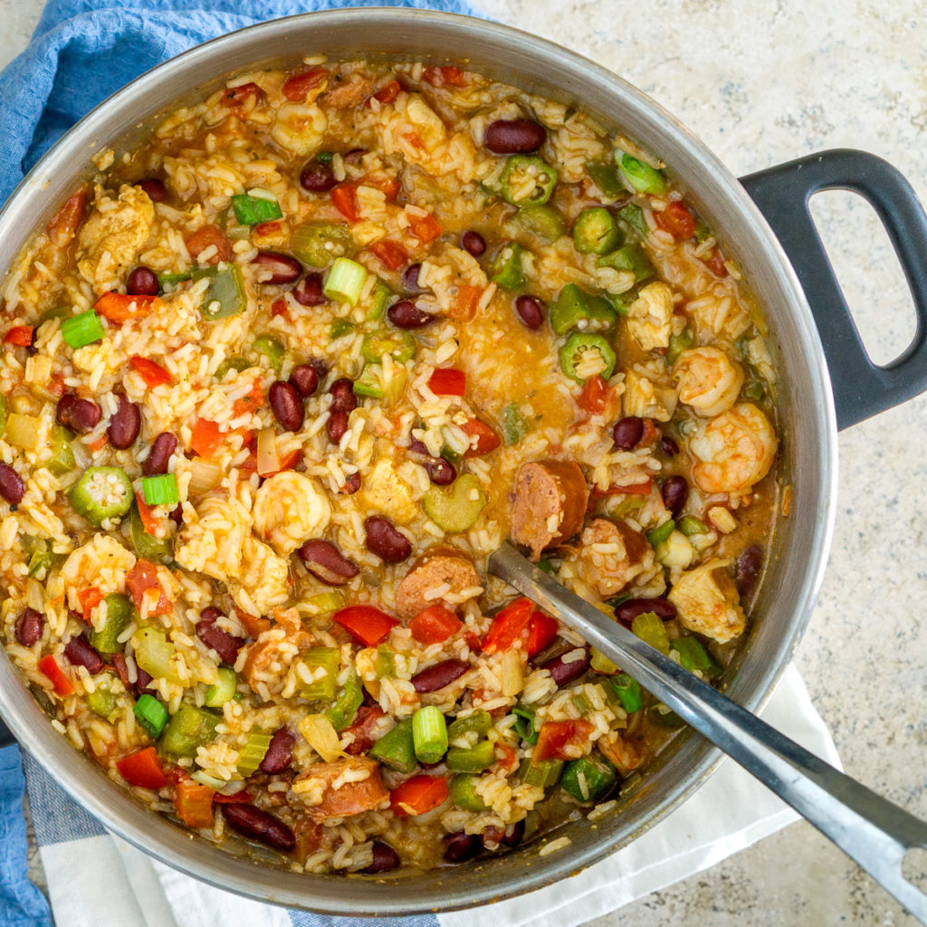 pot of jambalaya with beans