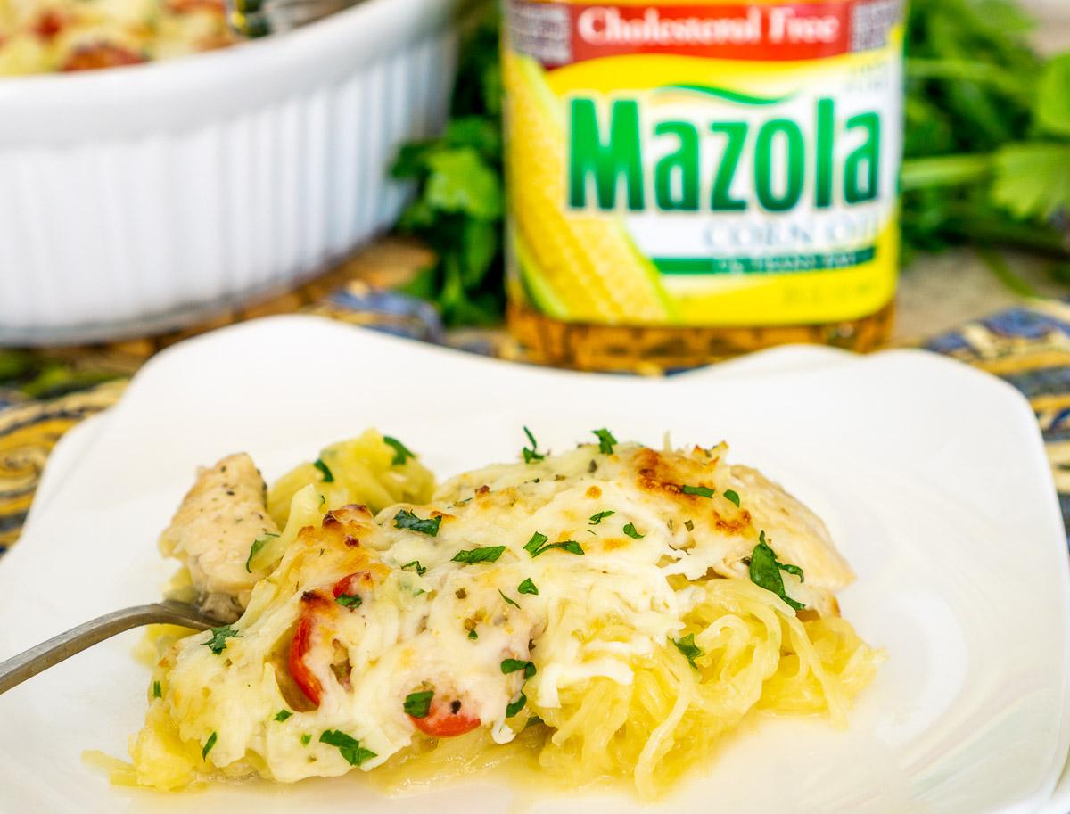 skinny spaghetti squash chicken alfredo on a plate