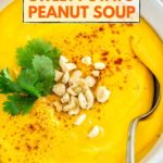 vegan sweet potato peanut soup pinterest graphic