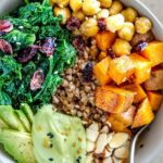 vegan buckwheat with roasted vegetables pinterest graphic