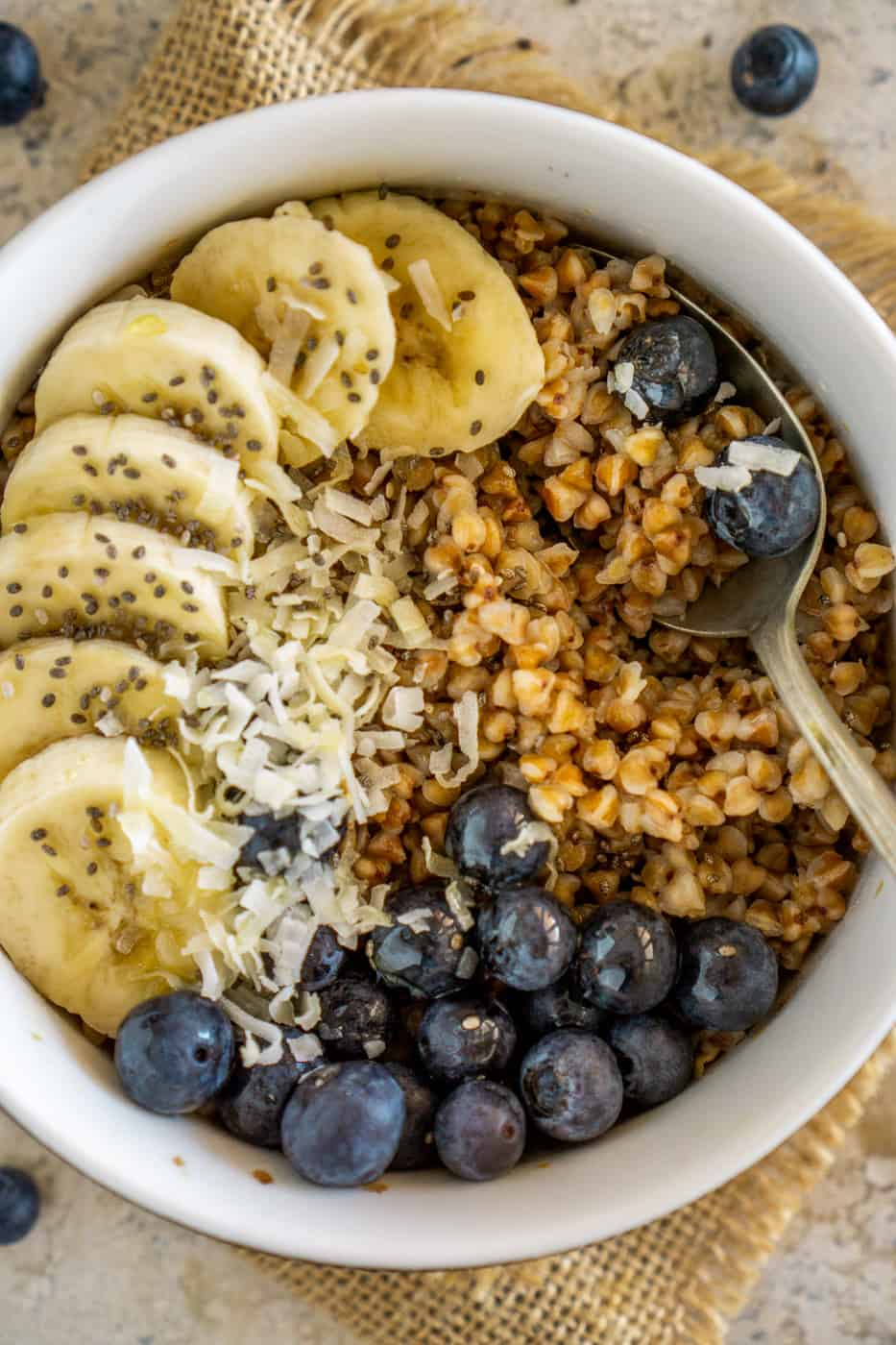 buckwheat breakfast with bananas and blueberries