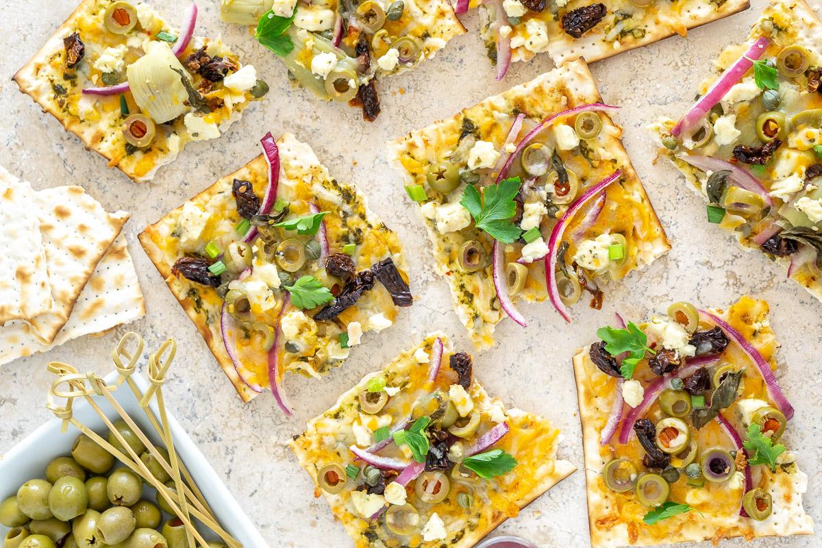 cheesy matzo appetizer squares