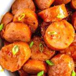 kielbasa appetizer in a bowl