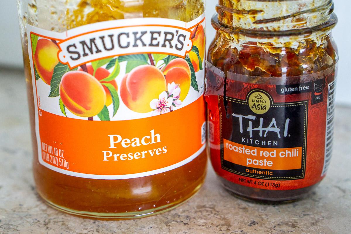 peach preserves and chili paste