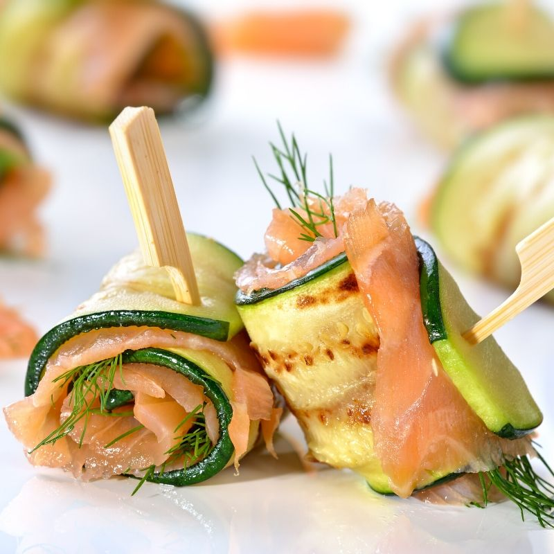 smoked salmon zucchini roll ups