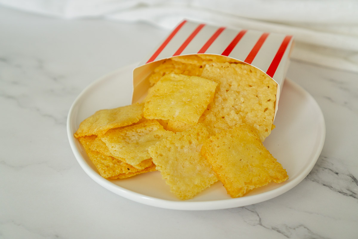 keto cheese crisps on a place