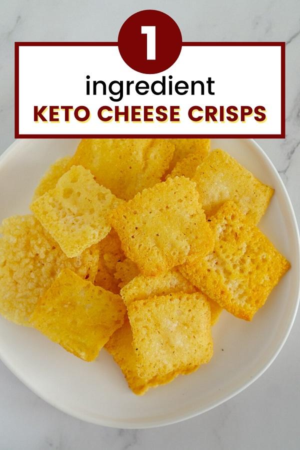 Keto cheese crisps pinterest graphic.
