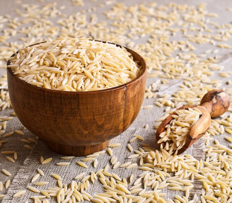 uncooked orzo pasta in a bowl