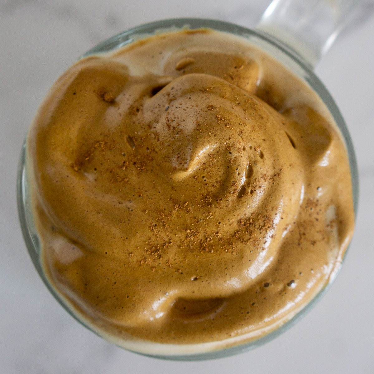 close up of whipped coffee