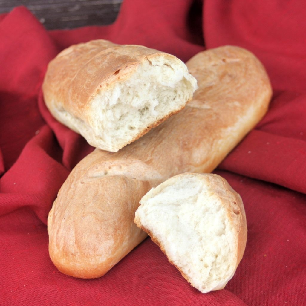 baguettes sliced open to show texture