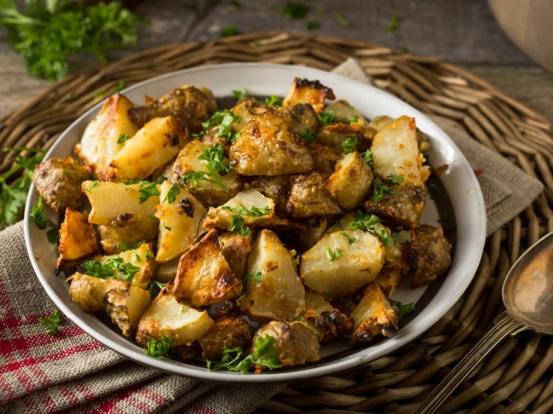 cooked jerusalem artichokes on a plate