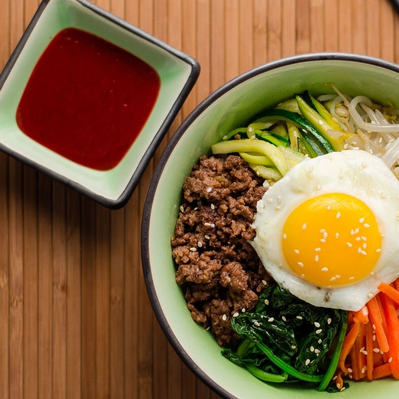 korean dish with gochujang on the side