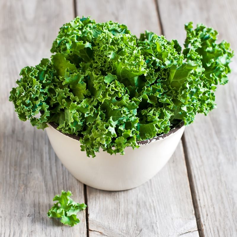 kale leaves in a bowl
