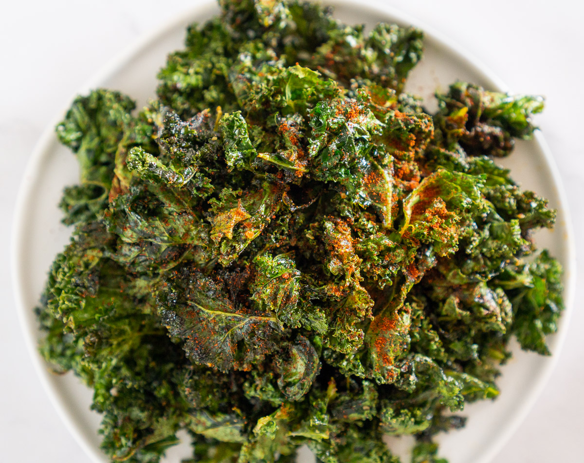 cajun spiced kale chips on a plate