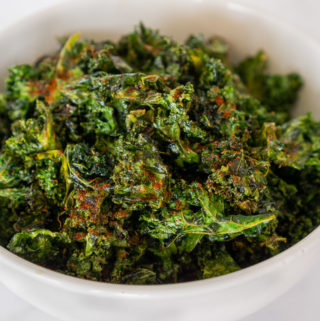 cajun kale chips in a bowl