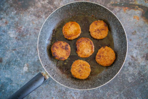 sausage patties in a skillet