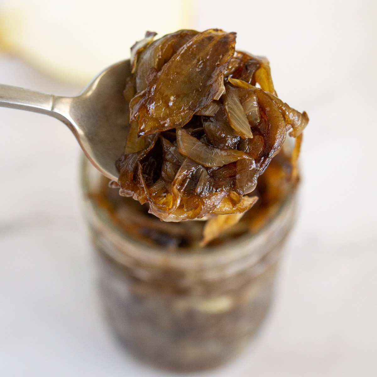 balsamic caramelized onion in a jar