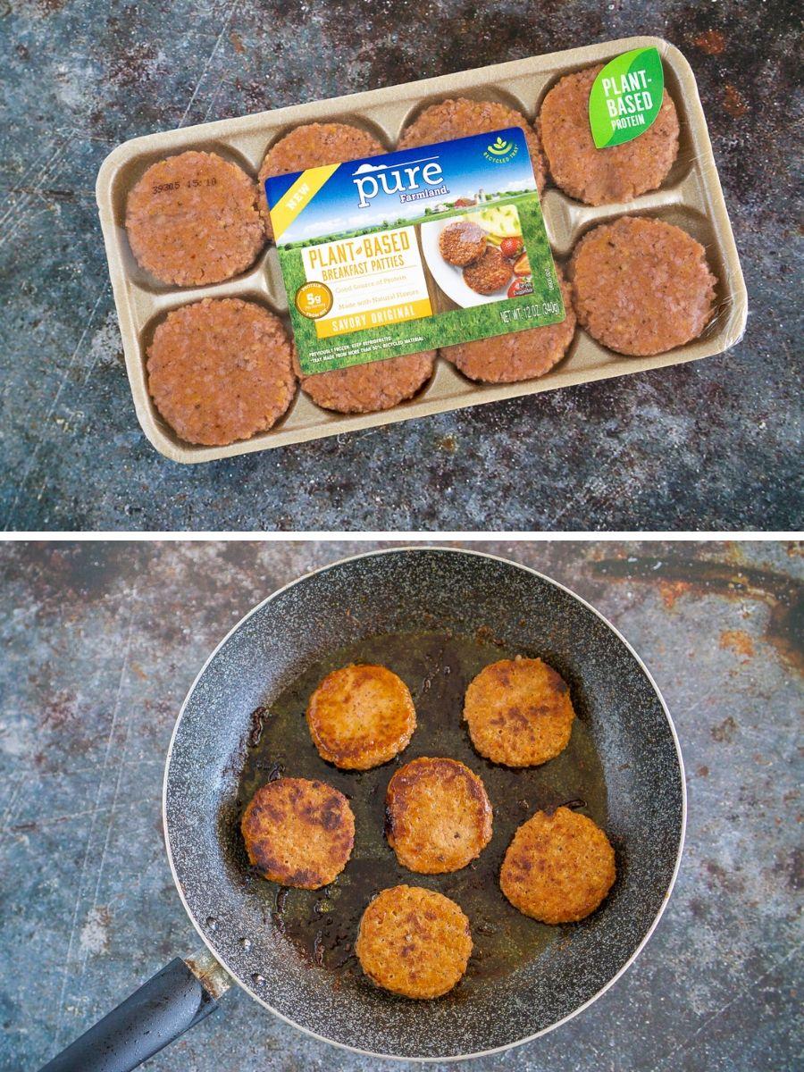 collage of sausage patties to make sliders