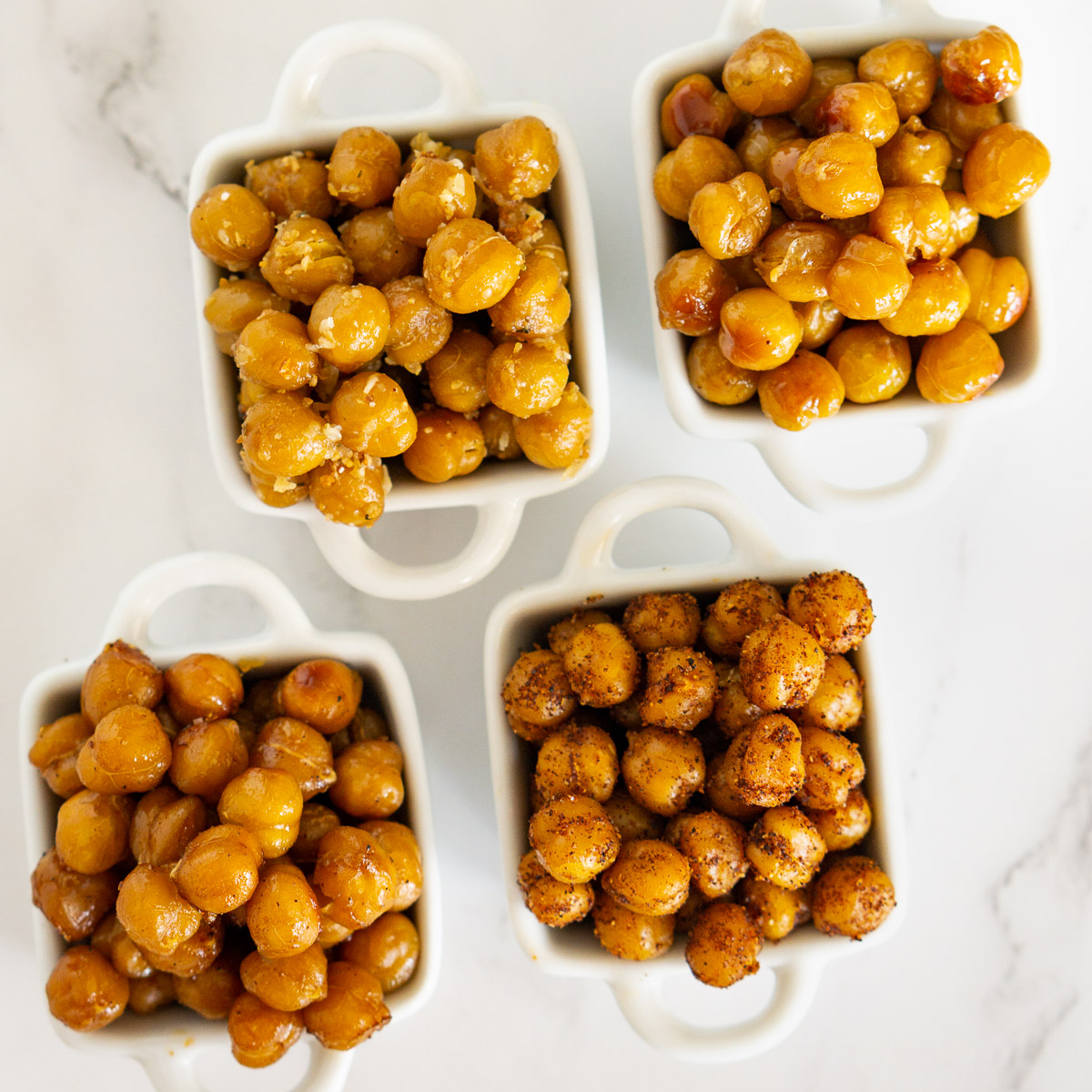 roasted chickpeas in small dishes