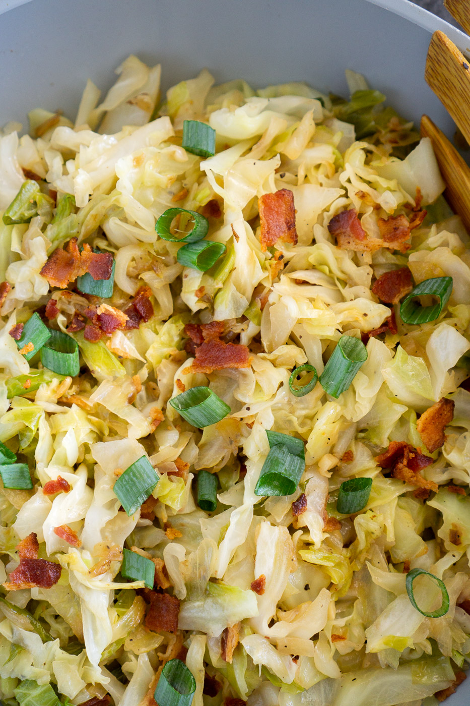 sauteed cabbage and bacon on a skillet - close up image