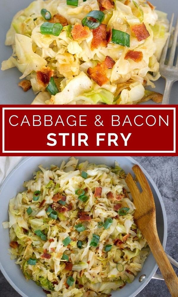 cabbage bacon stir fry pinterest graphic