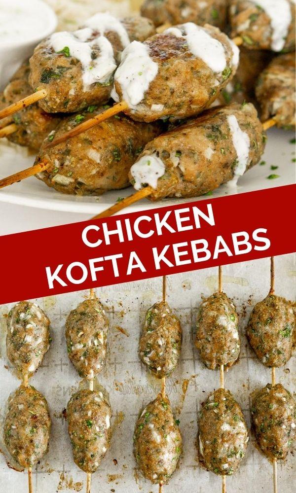 chicken kofta kebabs pinterest graphic
