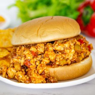 chicken sloppy joe sandwich on a plate