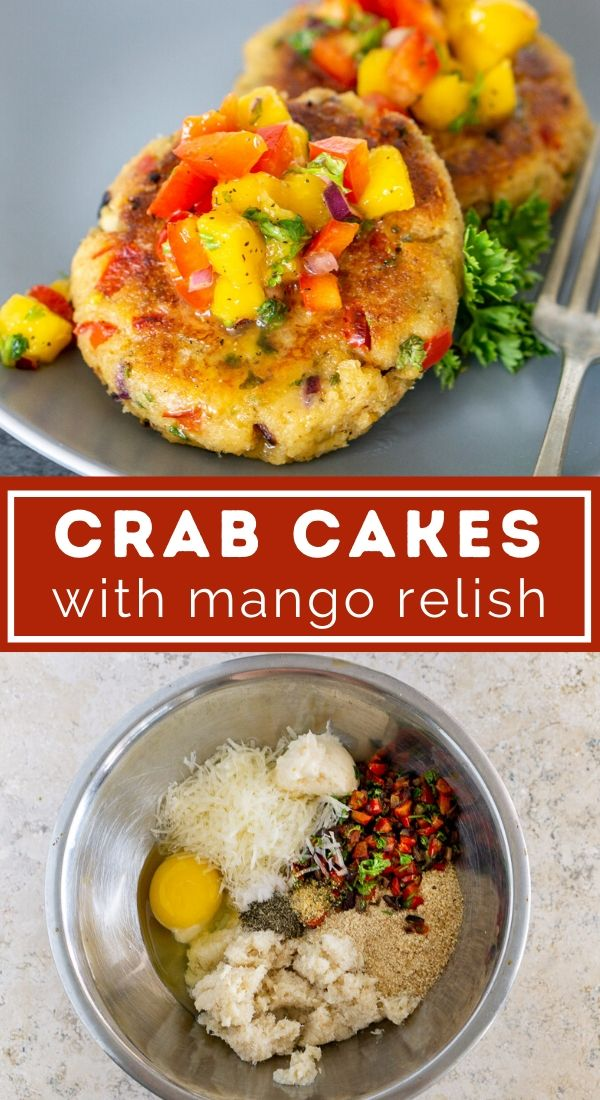 crab cakes with mango relish pinterest graphic