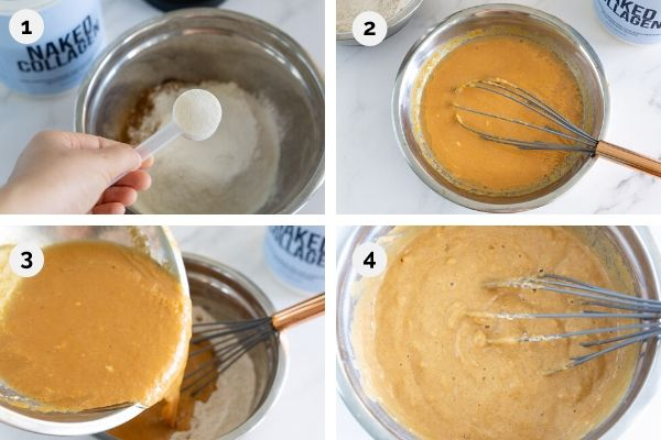 collage of step by step how to cook pumpkin pancakes