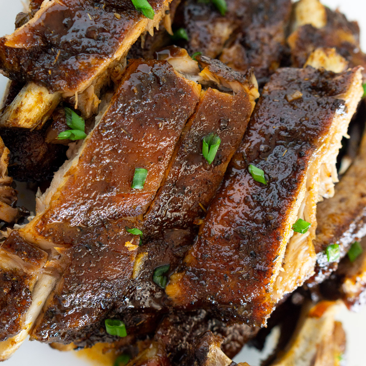 oven baked maple glazed ribs on a plate