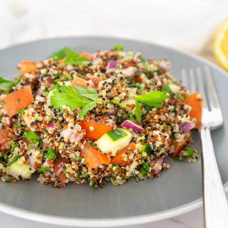 quinoa tabbouleh salad on a plate