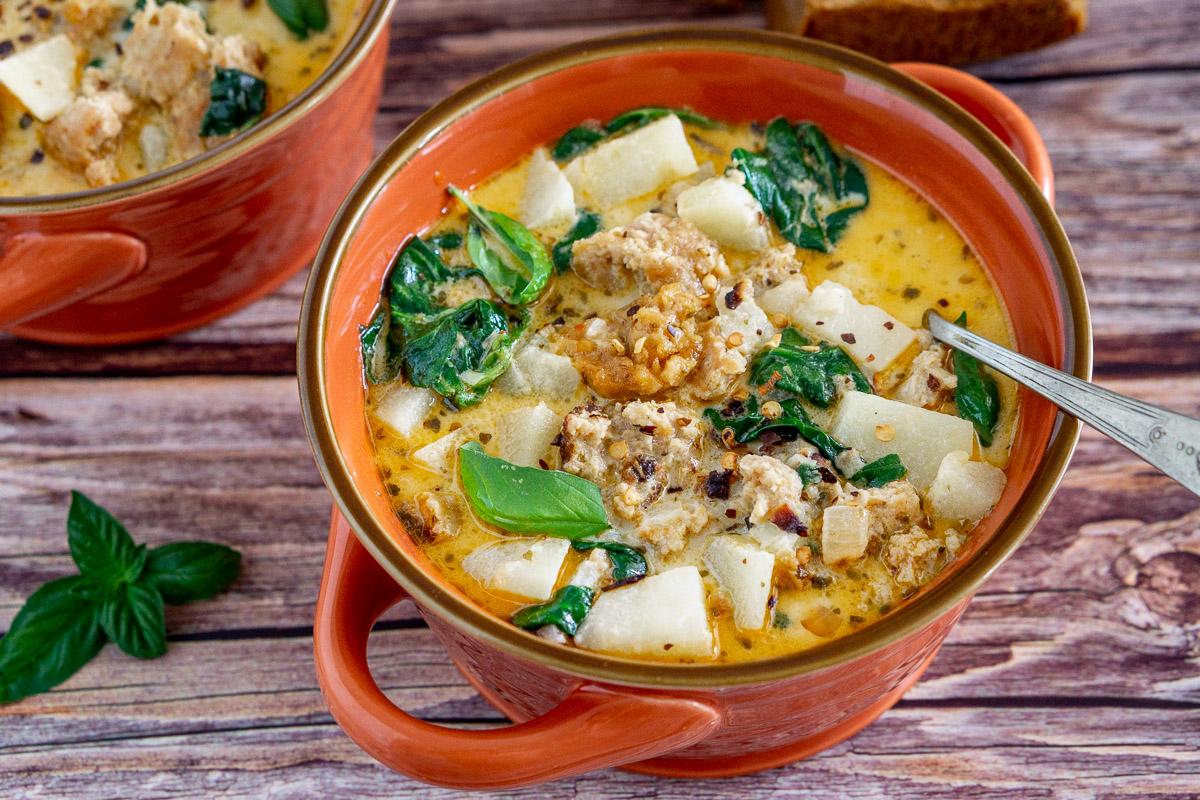 vegan zuppa toscana in a bowl