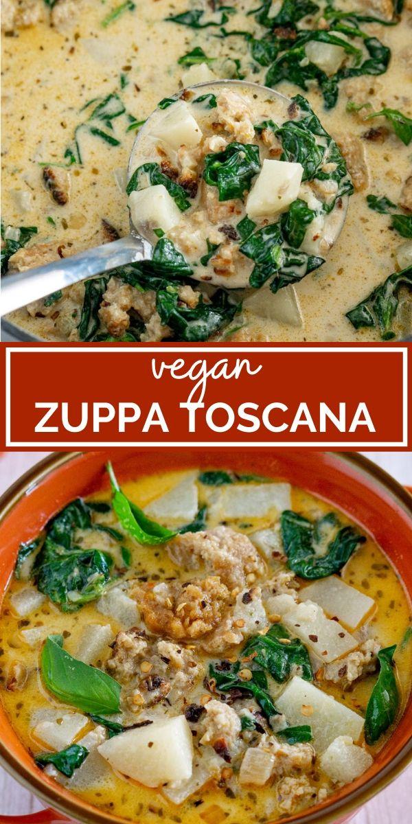 vegan sausage zuppa toscana pin graphic