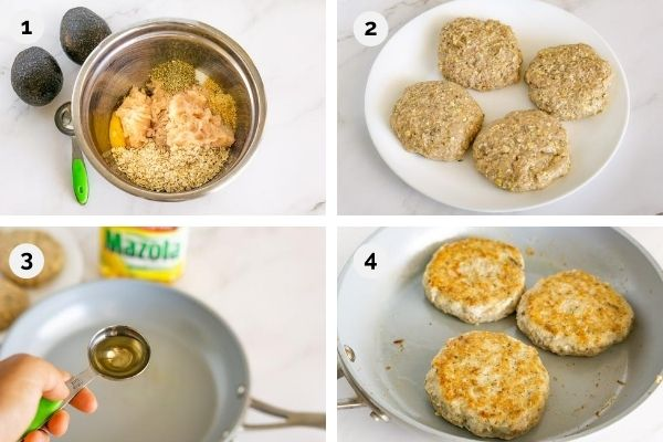 collage of step by step pictures for how to make chicken burgers with guacamole