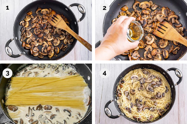 step by step collage of photos for how to make one pot pasta with mushrooms