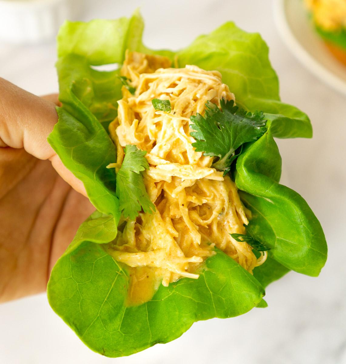 Buffalo chicken lettuce wrap in hand