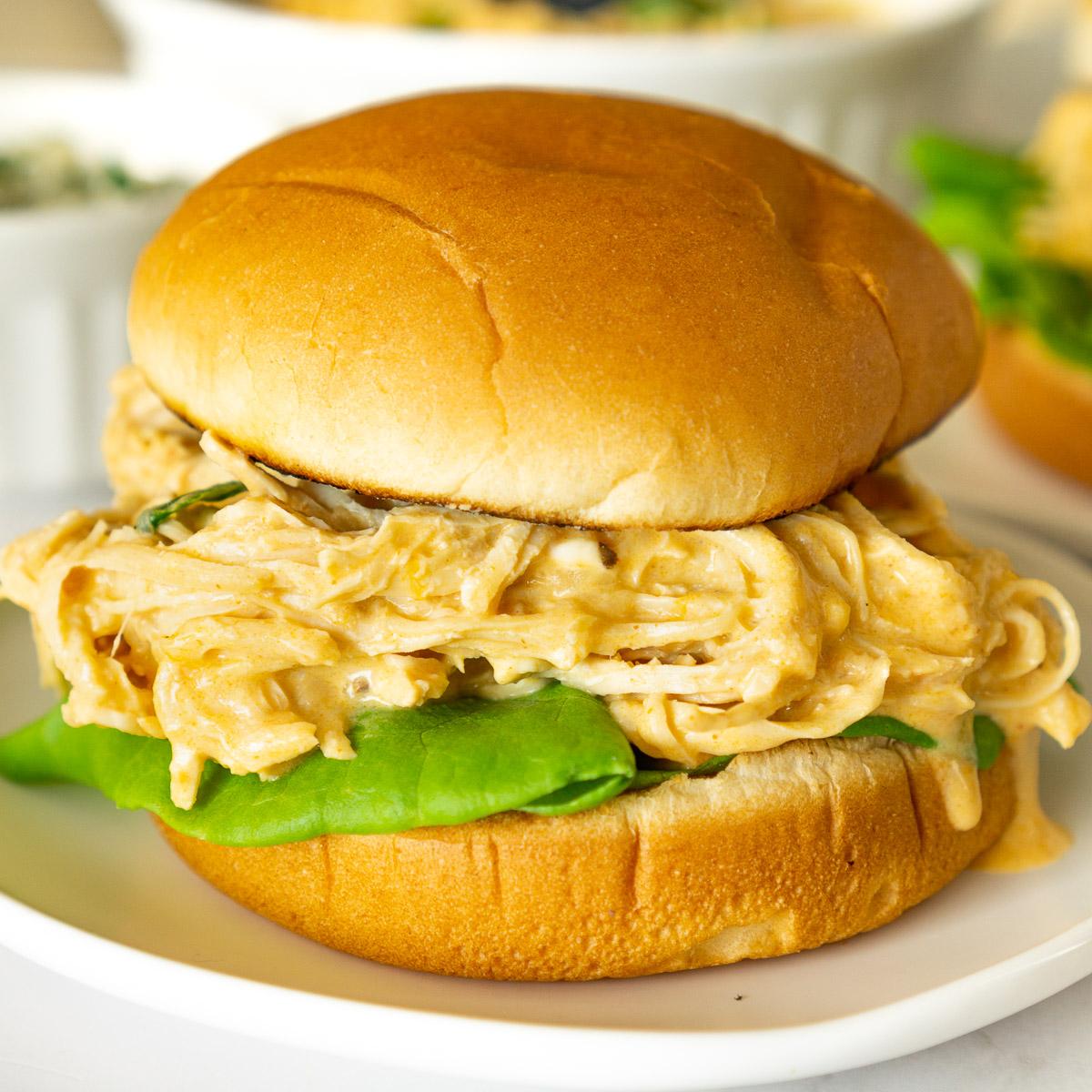 Buffalo chicken sandwich on a plate
