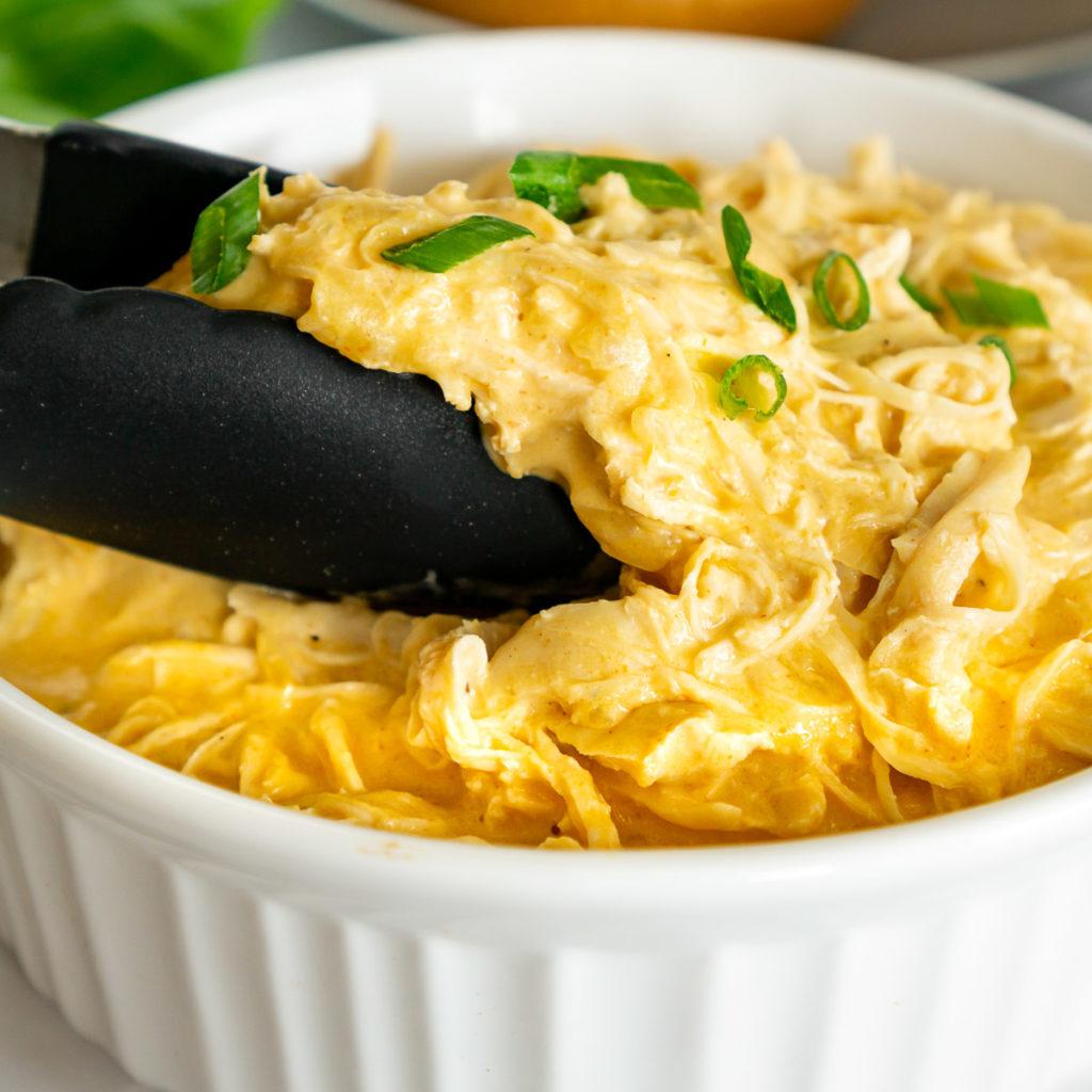 creamy Buffalo Shredded Chicken in a serving dish