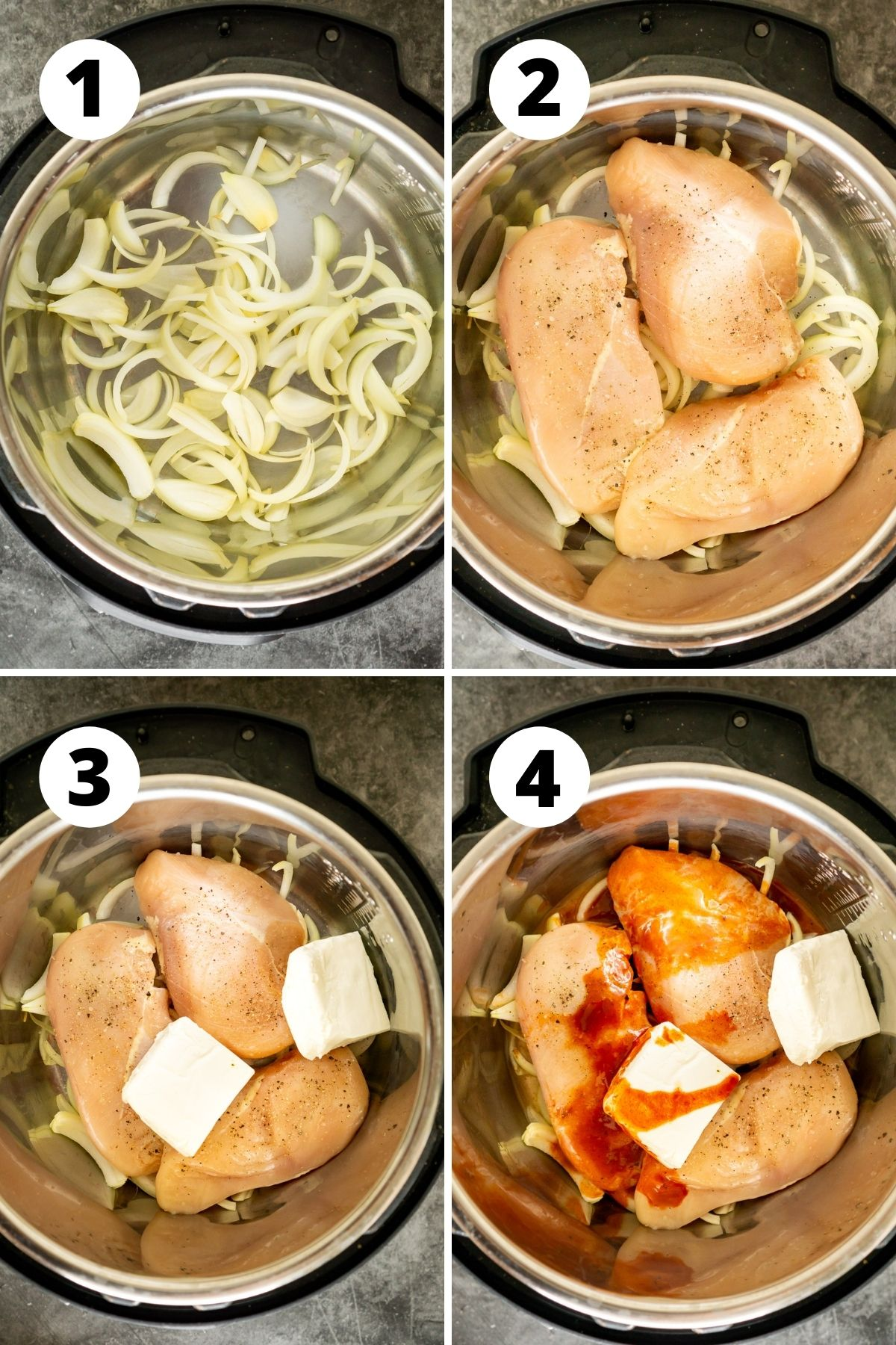 collage of photos for how to make instant pot Buffalo chicken