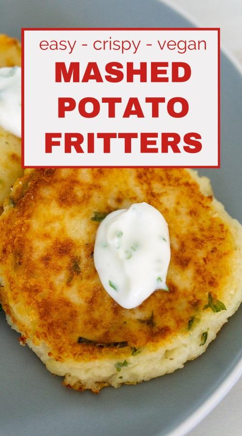 leftover mashed potato fritters pinnable image