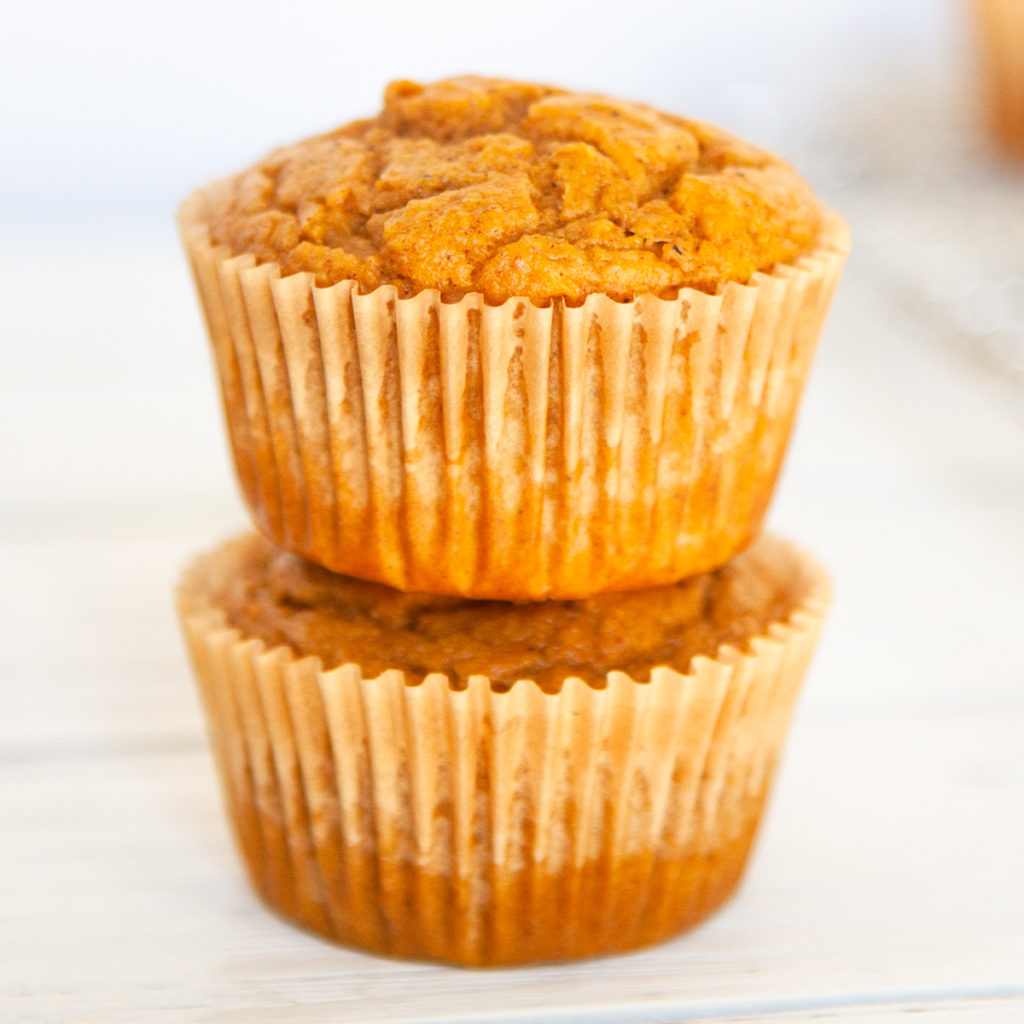 2 pumpkin spice muffins stacked on top of each other