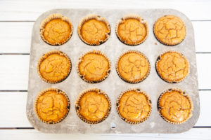 tray of pumpkin muffins from spice cake mix