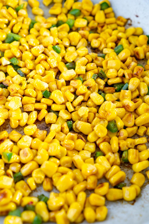 charred corn in a skillet