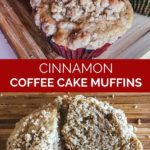 pinnable image of cinnamon coffee cake muffins