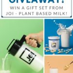 collage of photos for a giveaway of plant based milk and pitcher
