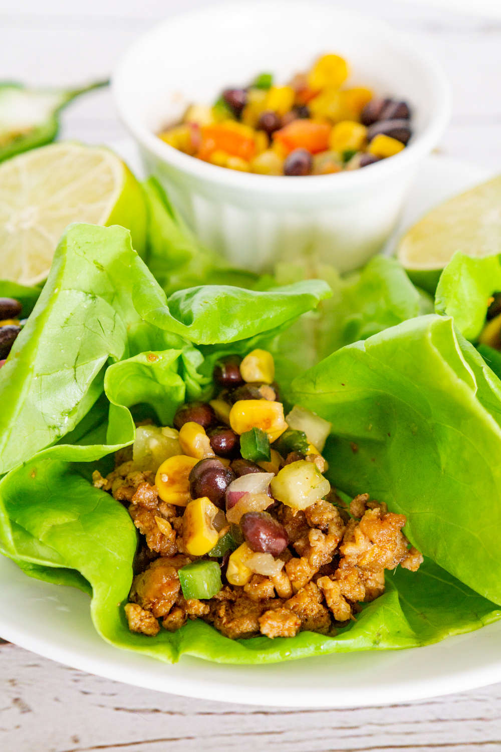 low carb ground pork tacos in lettuce leaves
