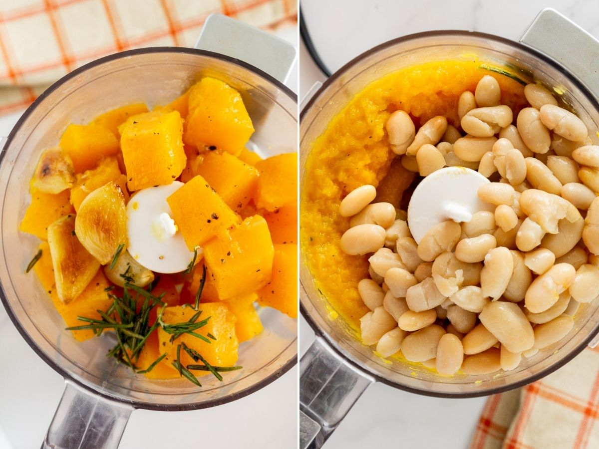 collage of roasted butternut squash in a food processor and butternut squash puree with white beans in a food processor